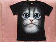 可愛い♪ねこちゃんと花Tシャツ黒サイズM、L【メール便160円】