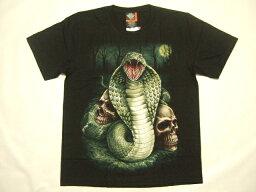横浜最新 素敵なコブラ ♪ スカールTシャツ 黒 L 送料220円101z