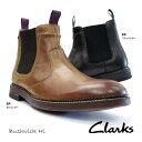 クラークス サイドゴアブーツ ブッシュウィック ハイ 418E メンズブーツ プレーントウ レザー Clarks Bushwick Hi B BR