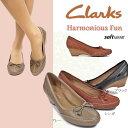 クラークス レディース パンプス ハーモニアスファン 011F 本革 レザー ウェッジソール Clarks Harmonious Fun