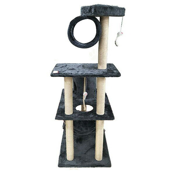キャットタワー 高さ142cm おもちゃ ネコ 据え置き 置き型 ハンモック付 猫タワー 省スペース おしゃれ スリム ペット タワーT8071