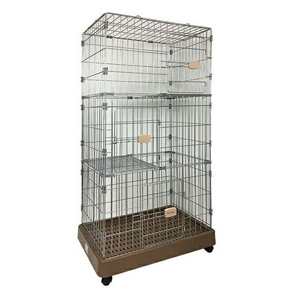 キャットケージ 大型 3段 キャスター付 猫ハウス ゲージ 猫ケージ 組立 キャットハウス キャットタワー ペットケージ ペットショップにも最適 ベッド ゲージFC-2204
