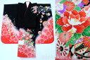 七五三 正絹7歳用女の子高級着物◆黒色 花車に桜◆sdtt007