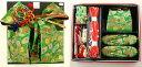 7歳女の子用 同柄・同色の結び帯・箱せこペアセット◆緑色◆6004