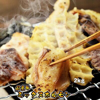 【送料無料】国産牛ミックスホルモン【メガ盛り】【2kg】(焼肉、バーベキュー、もつ鍋、ホルモン…