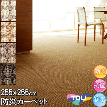 東リ カーペット 4.5畳 約255×255cm 団地間 4.5帖 デザインカーペット 防ダニ 抗菌 防炎 シンプル アースカラー ライトブラウン ベージュ ブラウン ダークブラウン春夏秋冬用 カーペット ラグ 日本製 絨毯 セグエ