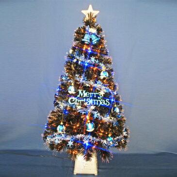 【ポイント16倍】クリスマスツリー 北欧 おしゃれ 120cmブラックファイバーツリーセット12(20球ブルーLED付き) オーナメント セット LED