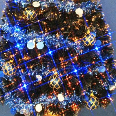 クリスマスツリー150cmブラックファイバーツリーセット