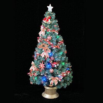 クリスマスツリーグリーンファイバーツリー180cmセット(マルチLED48球付)