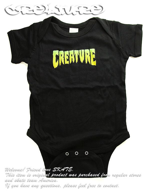 インナー・下着, ボディスーツ Creature Skateboards Baby Logo Infant Onesie 1218 Months Black SKATE SK8 HARD CORE PUNK HIPHOP SURF reggae Snowboard