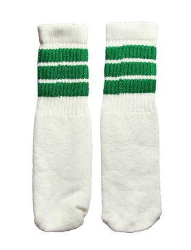 SkaterSocks ベビー キッズ 赤ちゃん 子供 ロングソックス 靴下 ソックス スケート スケボー チューブソックス Kids White tube socks with Green stripes style 1(10インチ)10 Inch BABY-KIDS Striped SKATE SK8 PUNK パンク HIPHOP ヒップホップ サーフ レゲエ