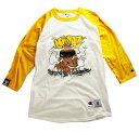 NINJA X(ニンジャエックス)Champion ベースボールシャツ 8分袖 ラグランTシャツ Original Baseball Shirt Raglan sleeve 2019 チャンピオン(USライン)(T137)WHITE × C GOLD スケボー SKATE SK8 スケートボード HARD CORE PUNK パンク HIPHOP ヒップホップ レゲエ
