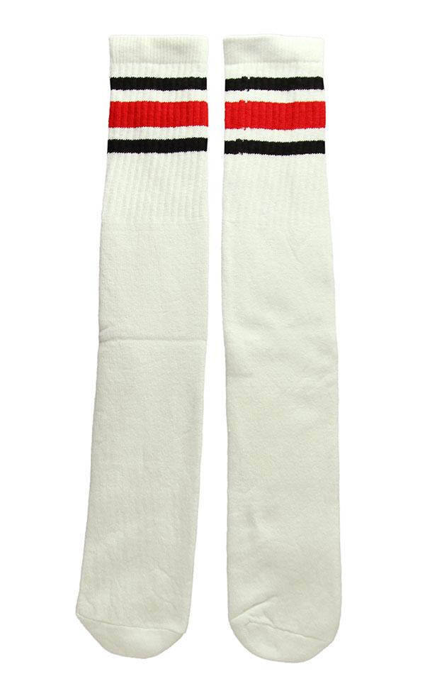 靴下・レッグウェア, 靴下 SkaterSocks Knee high White tube socks with Black-Red stripes style 3(25Inch25)SK8 HARD CORE PUNK HIPHOP SURF