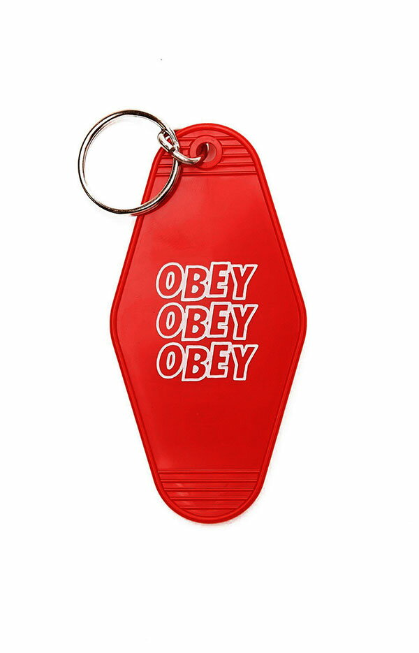 キーホルダー・キーケース, キーホルダー OBEY() Jumble Stacks Plastic Keychain Red SKATE SK8 HARD CORE PUNK HIPHOP SURF reggae Snowboard NINJA X
