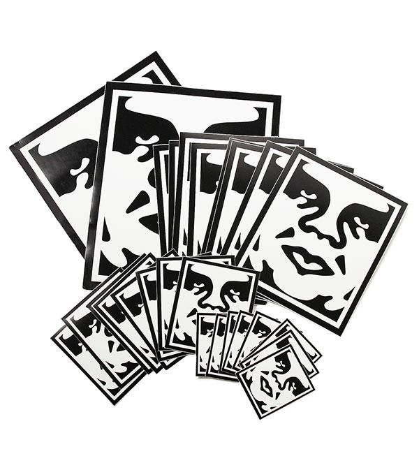 ラベル・ステッカー, シール・ステッカー OBEY() (426)Sticker Pack 2 Icon Face Assorted WhiteBlack SKATE SK8 HARD CORE PUNK HIPHOP SURF reggae Snowboard NINJA X
