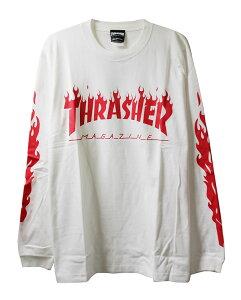 Thrasher Magazine (スラッシャー マガジン) ロンT ロングTシャツ 長袖 Flame Of Sleeve L/S T-Shirt White×Red スケボー SKATE SK8 スケートボード HARD CORE PUNK ハードコア パンク HIPHOP ヒップホップ SURF サーフ レゲエ reggae スノボー スノーボード Snowboard