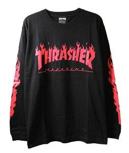Thrasher Magazine (スラッシャー マガジン) ロンT ロングTシャツ 長袖 Flame Of Sleeve L/S T-Shirt Black×Red スケボー SKATE SK8 スケートボード HARD CORE PUNK ハードコア パンク HIPHOP ヒップホップ SURF サーフ レゲエ reggae スノボー スノーボード Snowboard