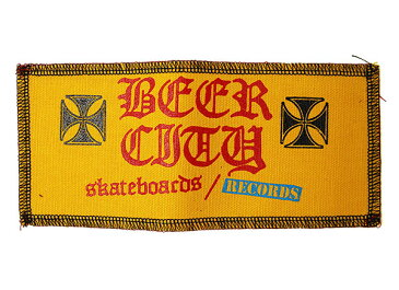 BEER CITY(ビアシティ)SKATEBOARDS/RECORDS ワッペン パッチ 刺繍 Iron Cross patch Orange スケボー SKATE SK8 スケートボード HARD CORE PUNK ハードコア パンク