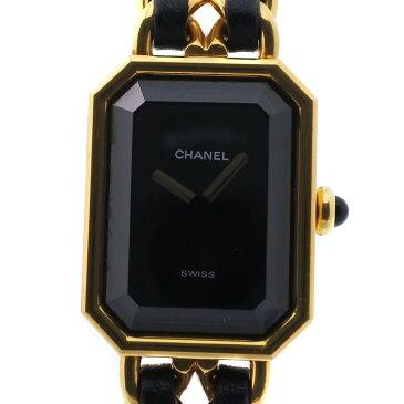 【CHANEL】シャネル プルミエールXL GP×レザー ゴールド クオーツ レディース 黒文字盤 腕時計【中古】A-ランク