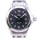 【OMEGA】オメガ シーマスター120M 2571.41 ステンレススチール シルバー クオーツ レディース 黒文字盤 腕時計【中古】