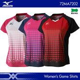ミズノ:MIZUNOゲームシャツ72MA7202WOMEN:女性用ゲームウェアゲームシャツバドミントンテニスバドミントンウェア・テニスウェア日本バドミントン協会審査合格品サイズ:S,M,L,L,XL