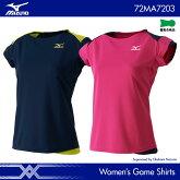 ミズノ:MIZUNOゲームシャツ72MA7203WOMEN:女性用ゲームウェアゲームシャツバドミントンテニスバドミントンウェア・テニスウェア日本バドミントン協会審査合格品サイズ:S,M,L,L,XL2017年春夏モデル