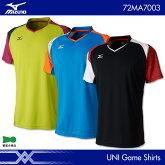 ミズノ:MIZUNOゲームシャツ72MA7003UNISEX:男女兼用ゲームウェアユニフォームバドミントンウェアテニスウェア日本バドミントン協会審査合格品サイズ:XS,S,M,L,XL2017年春夏モデル