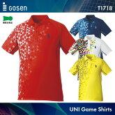 ゴーセン:GOSENゲームシャツT1718UNISEX:男女兼用ゲームウェアゲームシャツバドミントンテニスバドミントンウェアテニスウェアサイズ:S,M,L,LL,XL日本バドミントン協会審査合格品