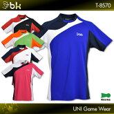 blackknight:ブラックナイトゲームウェアT-8570UNISEX:男女兼用バドミントンテニススカッシュゲームシャツユニフォーム日本バドミントン協会審査合格品