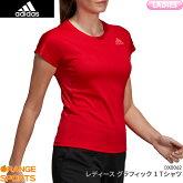 アディダスadidasグラフィック1TシャツGRAPHIC1TEESHIRTDX0062レディース女性用スカーレットゲームウェアユニフォームバドミントンバドミントンウェア日本バドミントン協会審査合格品