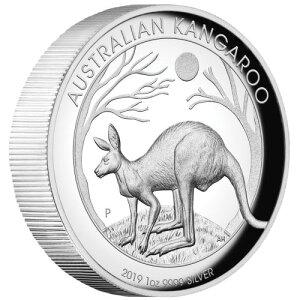 Австралийская серебряная монета кенгуру 2019 года 1 р.