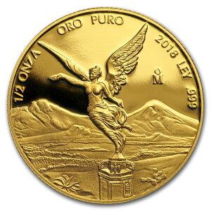 2018 Мексика Libertad Золотая монета 1/2 унции 29 мм с прозрачным футляром Новый неиспользованный