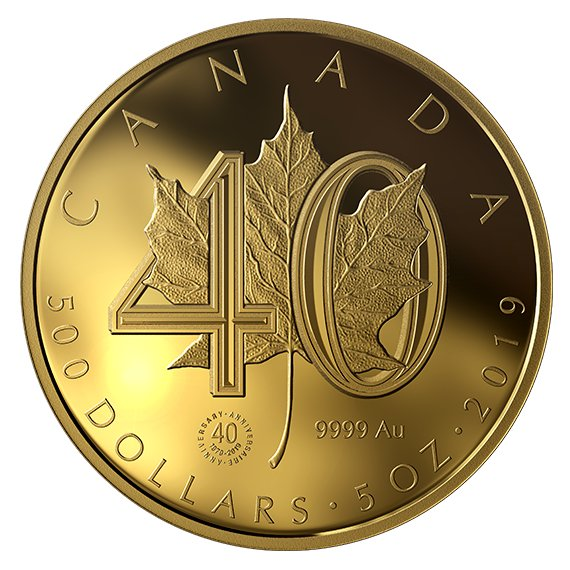 2019 カナダ メイプルリーフ金貨発行40周年記念 500ドル金貨 5オンス プルーフ 箱とクリアケース付き 新品未使用