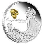 2020オーストラリア結婚ご祝儀銀貨1オンスプルーフ箱とクリアケース付き新品未使用