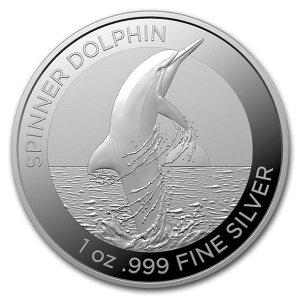 2020澳大利亚旋转海豚银1盎司40毫米, 透明表壳全新未使用