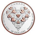 2020カナダ結婚ご祝儀20ドル銀貨1オンスプルーフ箱とクリアケース付き新品未使用