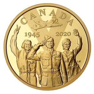 75. Jahrestag 2020 in Kanada: Royal Canadian Air Force $ 100 K14 Gold Proof Box mit Klarsichtetui Unbenutzt