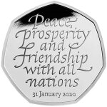 2020イギリスEU離脱記念50ペンス銀貨1/4オンスプルーフ箱とクリアケース付き新品未使用