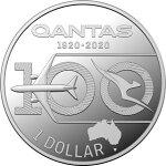 2020オーストラリアカンタス航空100周年記念1ドル銀貨1/2オンスプルーフ箱とクリアケース付き新品未使用