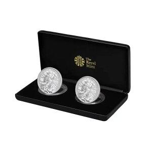 2020 British Britannia Silver coin 1 oz [2 pièces] set Preuve et givre inversé Boîte et étui transparent Nouveau inutilisé