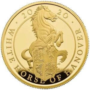 Зверь Британской королевы 2020: золотая монета Ганновера Хакуба с коробкой доказательства в 1 унцию и прозрачным футляром Новое неиспользованное