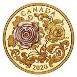 2020カナダクィーン・エリザベス薔薇200ドル金貨1オンスプルーフ箱とクリアケース付き新品未使用