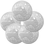 2020オーストラリア南十字星の下1ドル銀貨1オンス【5枚】セット40mmクリアケース付き新品未使用