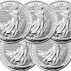 【5枚】2021 イギリス ブリタニア銀貨 1オンス ■【5枚】セット (39mmクリアーケース付き) 新品未使用