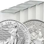 2021イギリスブリタニア銀貨1オンス【100枚】セット(25枚セットミントロール4個付き)新品未使用(10月下旬以降発送予定)