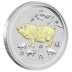 2019 австралийский зодиак / кабан серебряная монета золотая пластина 1 унция коробка и прозрачный чехол новый неиспользованный