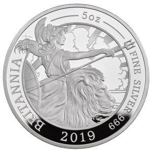 2019 британская серебряная монета Британия с 5-унционной коробкой и прозрачным футляром Новое неиспользованное