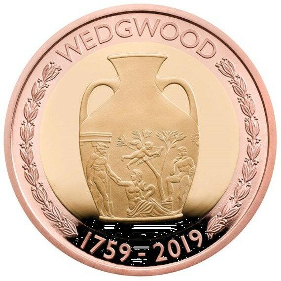 2019 イギリス ウェッジウッド創立260周年記念 2ポンド金貨 プルーフ 箱とクリアケース付き 新品未使用