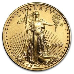 Золотая монета американского орла 2007 года 1/10 унции [с прозрачным футляром 17 мм]