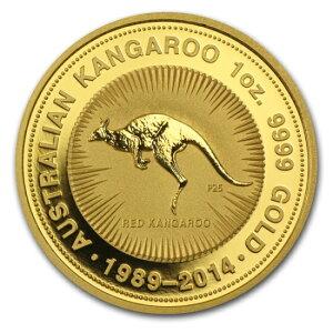 gDifficult to obtain h gLimited h New unused 2014 Kangaroo, Australia 1 oz gold coin [25th anniversary]